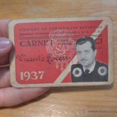 Militaria: ANTIGUO CARNET DE PERIODISTA DEPORTIVO DE CATALUNYA, 1937, GUERRA CIVIL. Lote 42882300