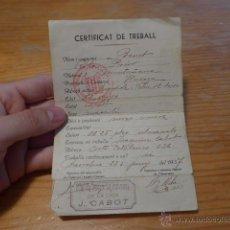 Militaria: CARNET DE CERTIFICAT DE TREBALL, 1937, GENERALITAT DE CATALUNYA, GUERRA CIVIL. Lote 42882477