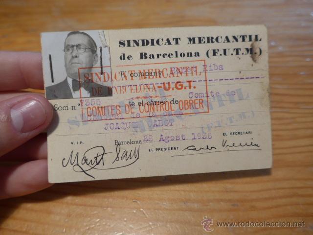 ANTIGUO CARNET DE SINDICAT MERCANTIL DE BARCELONA - UGT. 1936, GUERRA CIVIL (Militar - Guerra Civil Española)