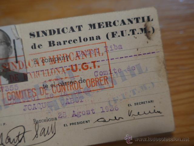 Militaria: Antiguo carnet de sindicat mercantil de barcelona - UGT. 1936, guerra civil - Foto 2 - 42882502