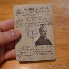 Militaria: ANTIGUO CARNET DEL MINISTERIO DE JUSTICIA REPUBLICANO, CACERES, NOV 1936, GUERRA CIVIL. Lote 42882711