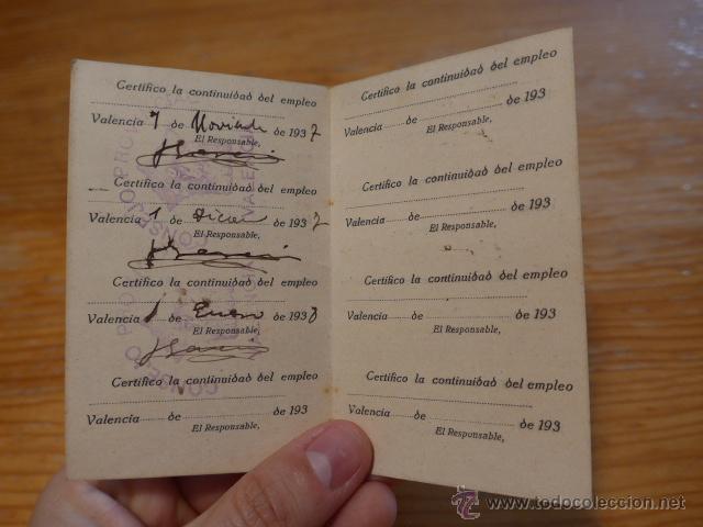 Militaria: Antiguo carnet republicano de Alerta, valencia, 1937, guerra civil - Foto 4 - 42882760