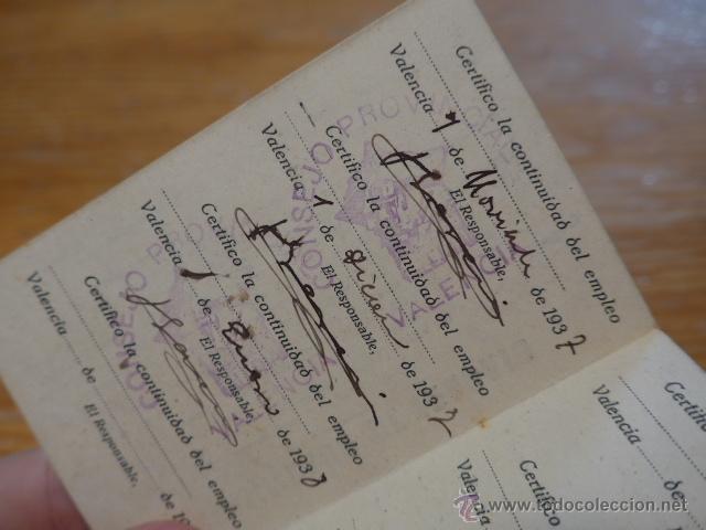 Militaria: Antiguo carnet republicano de Alerta, valencia, 1937, guerra civil - Foto 5 - 42882760