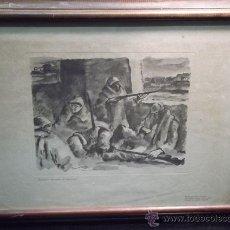 Militaria: VICENTE, EDUARDO (1909-1968) GUARDIA DURANTE EL DESCANSO- GRABADO LITOGRAFIA GUERRA CIVIL REPUBLICA. Lote 44111526