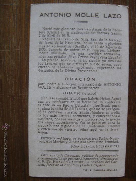 Militaria: ESQUELA FUNERARIA - ANTONIO MOLLE LAZO 1915-1936 - Foto 2 - 44185060