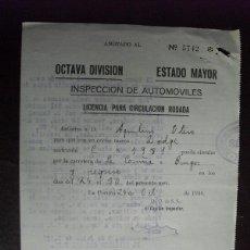 Militaria: 0CTUBRE 1936 GUERRA CIVIL LICENCIA PARA CIRCULACIÓN RODADA. Lote 44222199