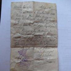 Militaria: PASE PARA CIRCULAR ,MANUSCRITO POR EL ALCALDE DE RIUDECOLS - 20 FEBRERO 1939. Lote 44244499