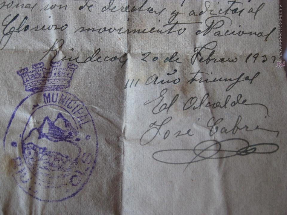Militaria: PASE PARA CIRCULAR ,MANUSCRITO POR EL ALCALDE DE RIUDECOLS - 20 FEBRERO 1939 - Foto 2 - 44244499