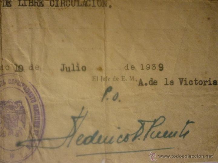 Militaria: SALVO CONDUCTO FECHA 10 JULIO 1939 DE MADRID A CÁDIZ Y REGRESO. EL DE LA FOTO - Foto 5 - 44429227