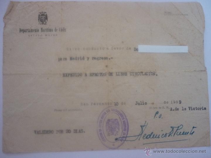 Militaria: SALVO CONDUCTO FECHA 10 JULIO 1939 DE MADRID A CÁDIZ Y REGRESO. EL DE LA FOTO - Foto 7 - 44429227