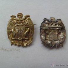 Militaria: GUERRA CIVIL : BROCHE PATRIOTICO CON ESCUDO NACIONAL DEL AGUILA IMPERIAL, PLATA.. Lote 195033202