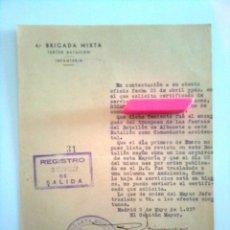 Militaria: HOJA DE DENEGACIÓN DEL CERTIFICADO DE SERVICIOS - 4ª BRIGADA MIXTA TERCER BATALLÓN INFANTERÍA, 1937. Lote 44635817