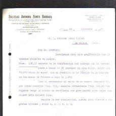 Militaria: CARTA COMERCIAL. S.A. SANTA BARBARA. OVIEDO, ASTURIAS. 1937. GUERRA CIVIL. SELLO VIVA ESPAÑA. Lote 44755269
