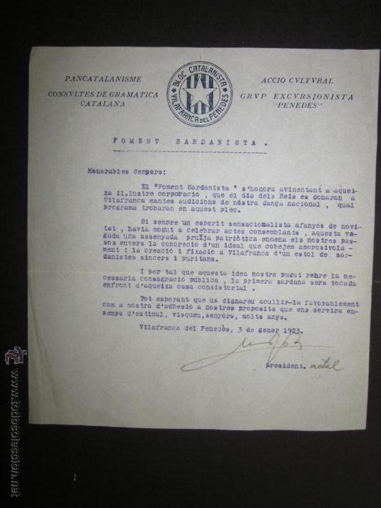 DOCUMENTO CATALANISTA-ACCIO CULTURAL- PANCATALANISME -BLOC CATALANISTA VILAFRANCA DEL PENEDES-1923 (Militar - Guerra Civil Española)