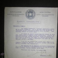 Militaria: DOCUMENTO CATALANISTA-ACCIO CULTURAL- PANCATALANISME -BLOC CATALANISTA VILAFRANCA DEL PENEDES-1923 . Lote 45147057
