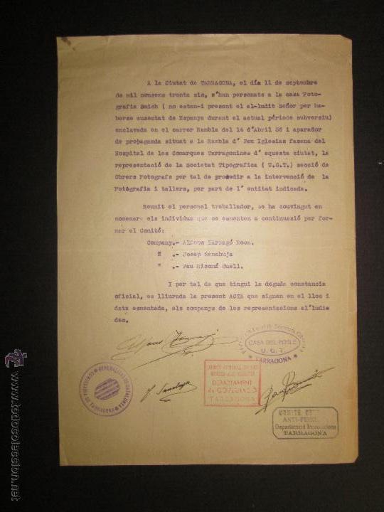 DOCUMENTO GENERALITAT DE CATALUNYA COMISSARIAT DE TARRAGONA - COMITE ANTIFEIXISTA 11 SEPTEMBRE 1936 (Militar - Guerra Civil Española)