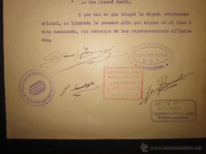 Militaria: DOCUMENTO GENERALITAT DE CATALUNYA COMISSARIAT DE TARRAGONA - COMITE ANTIFEIXISTA 11 SEPTEMBRE 1936 - Foto 3 - 45147106