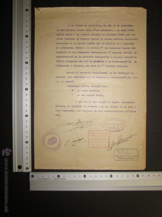 Militaria: DOCUMENTO GENERALITAT DE CATALUNYA COMISSARIAT DE TARRAGONA - COMITE ANTIFEIXISTA 11 SEPTEMBRE 1936 - Foto 4 - 45147106