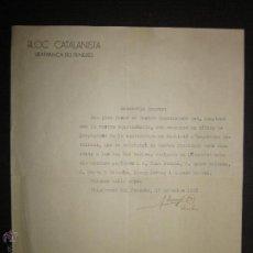 Militaria: DOCUMENTO - BLOC CATALANISTA - VILAFRANCA DEL PENEDES - AÑO 1933 . Lote 45147163