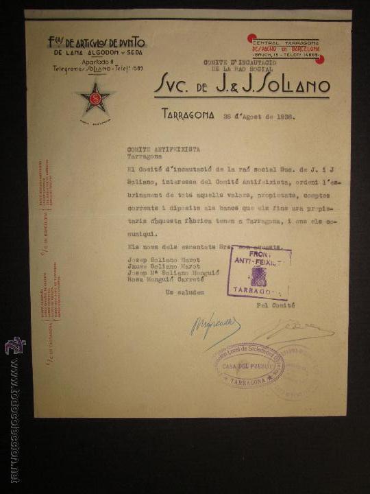 DOCUMENTO - COMITE ANTIFEIXISTA TARRAGONA -FRONT ANTIFEIXISTA - CASA DEL PUEBLO - COMISSARIAT- 1936 (Militar - Guerra Civil Española)