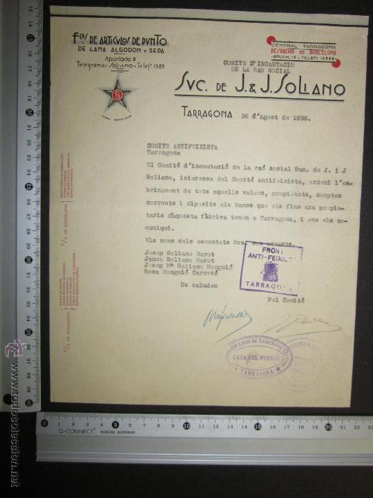 Militaria: DOCUMENTO - COMITE ANTIFEIXISTA TARRAGONA -FRONT ANTIFEIXISTA - CASA DEL PUEBLO - COMISSARIAT- 1936 - Foto 3 - 45147206