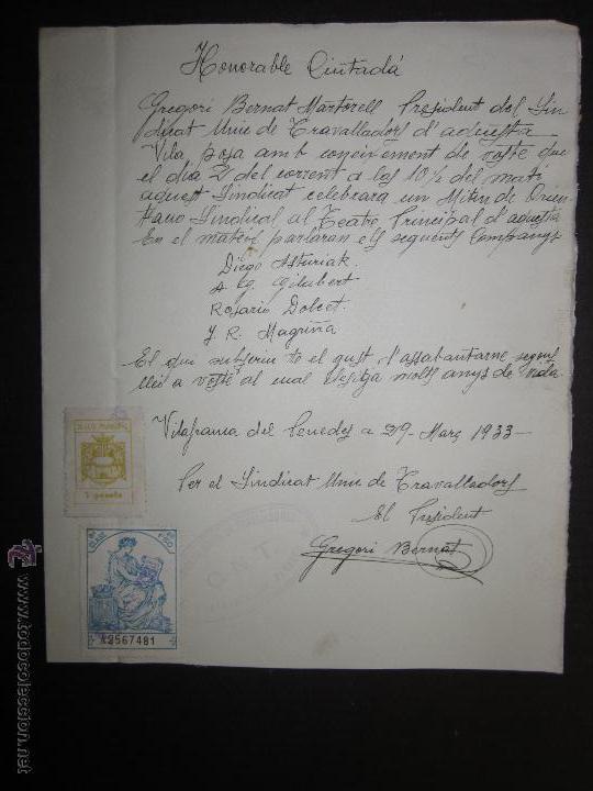 DOCUMENTO CNT - SINDICATO UNICO DE TRABAJADORES - VILAFRANCA DEL PANADES - AÑO 1933 (Militar - Guerra Civil Española)