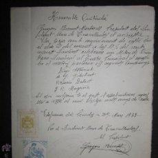 Militaria: DOCUMENTO CNT - SINDICATO UNICO DE TRABAJADORES - VILAFRANCA DEL PANADES - AÑO 1933. Lote 45147241