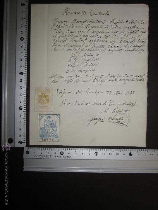 Militaria: DOCUMENTO CNT - SINDICATO UNICO DE TRABAJADORES - VILAFRANCA DEL PANADES - AÑO 1933 - Foto 3 - 45147241