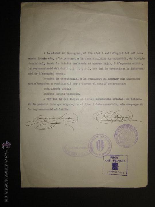 DOCUMENTO -FRONT ANTIFEIXISTA TARRAGONA - CASA DEL PUEBLO - COMISSARIAT- 1936 (Militar - Guerra Civil Española)
