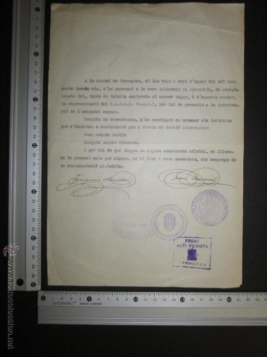 Militaria: DOCUMENTO -FRONT ANTIFEIXISTA TARRAGONA - CASA DEL PUEBLO - COMISSARIAT- 1936 - Foto 4 - 45147281