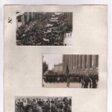 Militaria: BARCELONA, MONTJUIC, ABRIL 1939. CELEBRACIÓN DEL FINAL DE LA GUERRA CIVIL, 3 FOTOS 8X13,5CM.. Lote 45244831