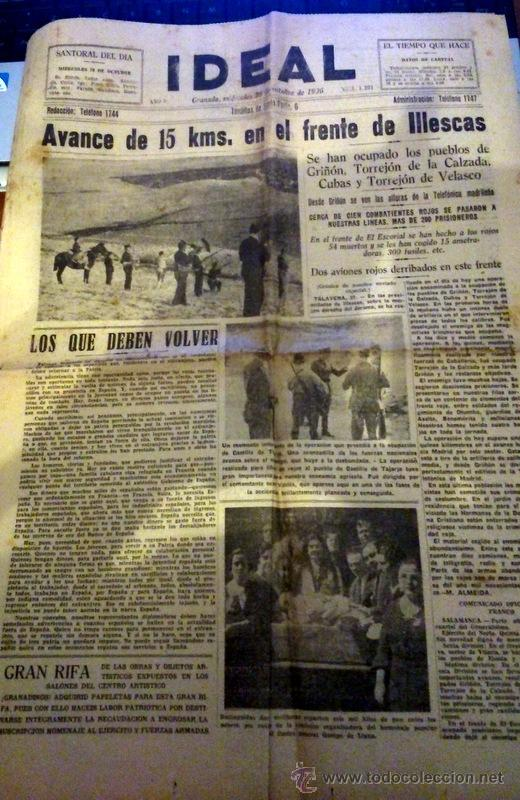 Granada 1936 periodico ideal 28 10 1936 tal comprar coleccionismo guerra civil espa ola en - Piscina el guerra granada precios 2017 ...