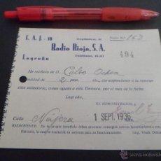 Militaria: BOLETIN DE SUSCRIPCION A RADIO RIOJA S.A DE LOGROÑO --- 1 SEPTIEMBRE 1936 POR 2 PESETAS. Lote 45638044