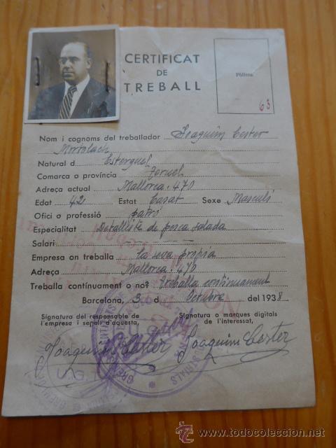 ANTIGUO CARNET CERTIFICAT DE TREBALL, REPUBLICANO, CATALUNYA. UGT. 1938, GUERRA CIVIL (Militar - Guerra Civil Española)