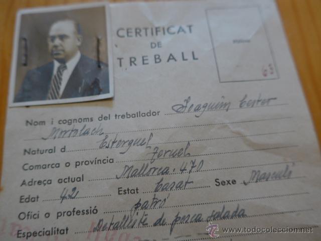 Militaria: Antiguo carnet certificat de treball, republicano, catalunya. UGT. 1938, guerra civil - Foto 2 - 45898780