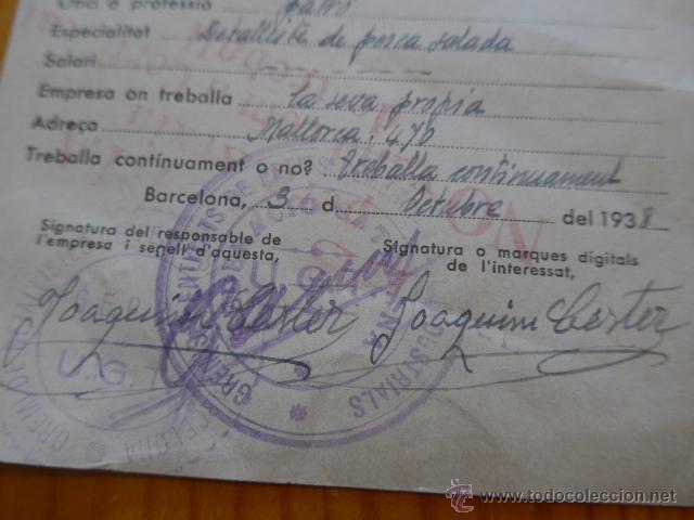 Militaria: Antiguo carnet certificat de treball, republicano, catalunya. UGT. 1938, guerra civil - Foto 3 - 45898780