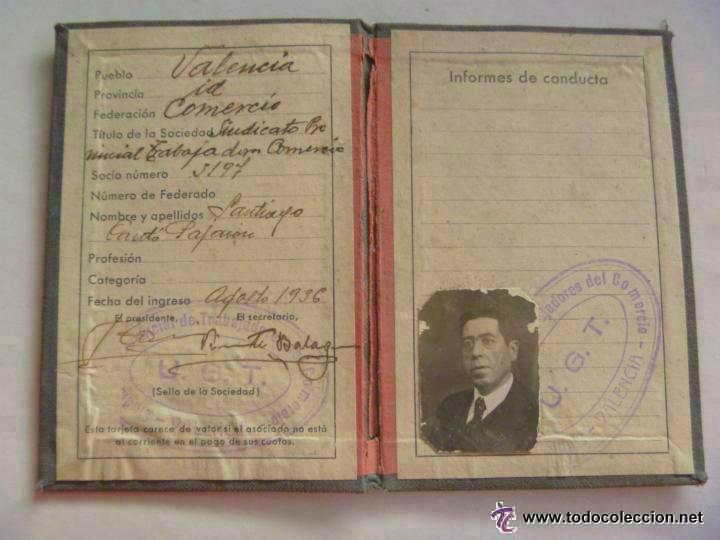 GUERRA CIVIL : CARNET DE LA UGT . VALENCIA , AGOSTO 1936 .. (Militar - Guerra Civil Española)