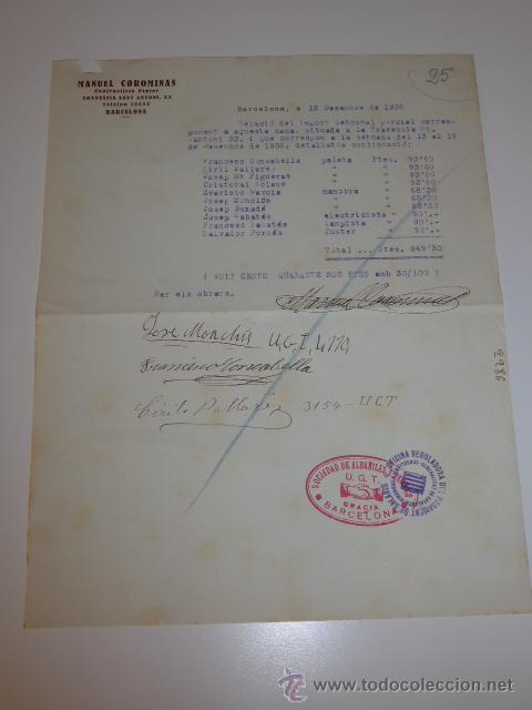 DOCUMENTO EMPRESA UGT, BARCELONA, 1936, GUERRA CIVIL (Militar - Guerra Civil Española)