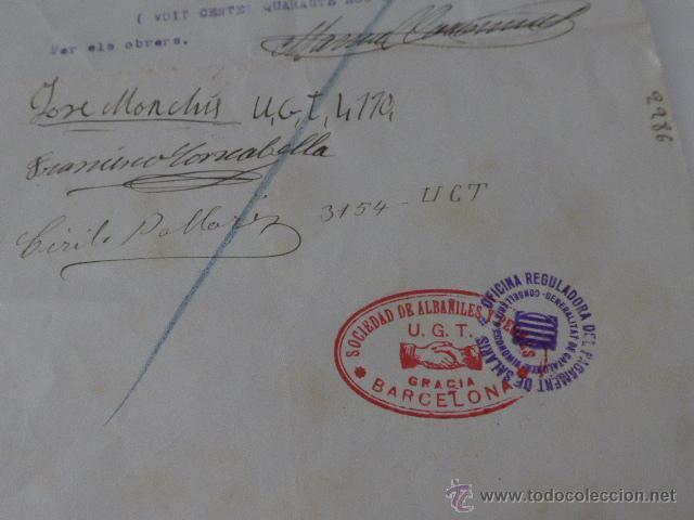 Militaria: Documento empresa UGT, barcelona, 1936, guerra civil - Foto 3 - 46160517