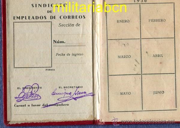 Militaria: Carnet de la UGT. Sindicato de Empleados de Correos. 1936. Guerra Civil Española. - Foto 2 - 46887434