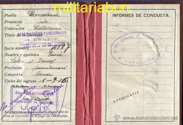 Militaria: Carnet Estatutos de la UGT. 1936. Guerra Civil Española. - Foto 2 - 46887501