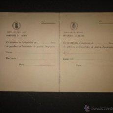 Militaria: DOCUMENTO GUERRA CIVIL - GENERALITAT DE CATALUNYA - TRANSPORTS DE GUERRA - (V-1630). Lote 46896797