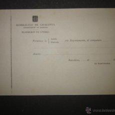 Militaria: DOCUMENTO GUERRA CIVIL - GENERALITAT DE CATALUNYA - TRANSPORTS DE GUERRA - (V-1636). Lote 46896983