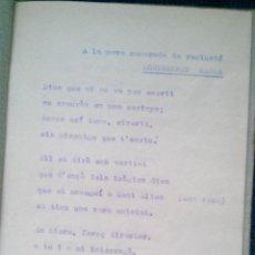 Militaria: 1937 CHECA CARCEL DE LES CORTS SANT ELIES BARCELONA POESIAS DE UNA DETENIDA GUERRA CIVIL. Lote 47023851