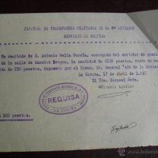 Militaria: 1937 RECIBO DE MULTA A ENCARGADO DE SURTIDOR DE GASOLINA. Lote 47041468