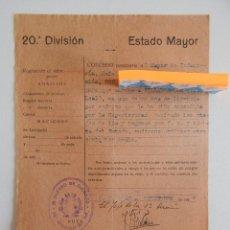 Militaria: 20 ª DIVISIÓN. ESTADO MAYOR. CONCESIÓN DE PASAPORTE POR ENFERMEDAD A MAYOR DE INFANTERÍA. 1938. Lote 47209263