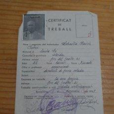 Militaria: ANTIGUO CARNET CERTIFICAT DE TREBALL, UGT, 1938, DE SANTA FE, LLEIDA, GUERRA CIVIL. Lote 47363495