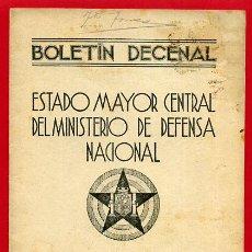 Militaria: FOLLETO , BOLETIN DECENAL ESTADO MAYOR, EJERCITO TIERRA , GUERRA CIVIL , REPUBLICA, 31-8-1937 , R6. Lote 47739704