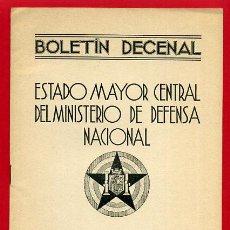 Militaria: FOLLETO , BOLETIN DECENAL ESTADO MAYOR, EJERCITO TIERRA , GUERRA CIVIL , REPUBLICA, 10-7-1937 , R7. Lote 47739732