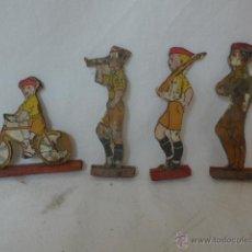 Militaria: LOTE DE 4 SOLDADOS DE REQUETE CARLISTA, DE MADERA, ORIGINALES GUERRA CIVIL, DE JUGUETE.. Lote 48255571
